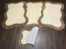 ROMANY GYPSY WASHABLES TRAVELLERS MATS FULL SET OF 4 DARK BEIGE/CREAM 80X120CM